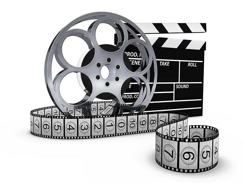 Grafik einer Filmklappe mit Filmrolle